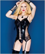 Wet Look Over Powernet Bustier CQ-D9280