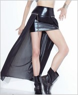 Wet Look and Mesh High Waisted Skirt CQ-D9298-Black