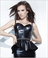 Pleather Zip Off Peplum Bustier with Padded Cups CQ-D9301
