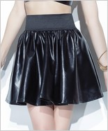 Pleather Circle Skirt with Wide Elastic Waist Band CQ-D9303-Black