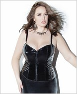 PVC Boned Corsets with Front Invisible Closure CQ-D9305X-Black