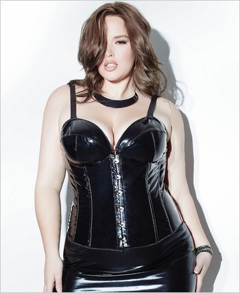 PVC and Wet Look Bustier with Padded Cups CQ-D9306X-Black