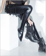 Footed Wet Look Leggings CQ-D9311-Black
