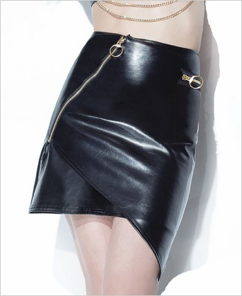 Asymmetrical Pleather Skirt with Metal Zipper CQ-D9318