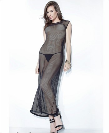 Fishnet Gown with Center Back Faux Metal Zipper CQ-D9321-Black