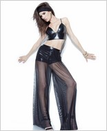Mesh Wide Leg Pant with Built In Booty Short CQ-D9322-Black