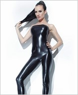 Wet Look Tube Jumpsuit with Removable Straps CQ-D9324