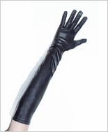 Wet Look Gloves with Elastic Ring CQ-D9331-Black
