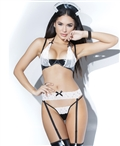Wet Look and Scalloped Lace French Maid Set CQ-D9334