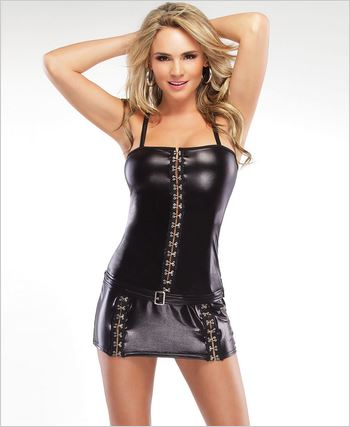 Wetlook Dress With Hook And Eye Front