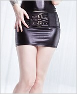 Plus Size Lace Up Back Wetlook Skirt