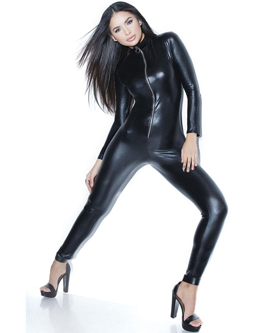 New Coquette D991 Zipper Front Wetlook Catsuit Halloween Costume