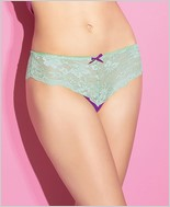 Scalloped Stretch Lace and Mesh Thong CQ-S4051-Magenta-Mint