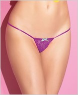 Stretch Lace Adjustable G-String with Bow CQ-S4059-Magenta-Mint