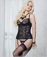 Burnout lace and powernet versatile bustier CQ-SB595