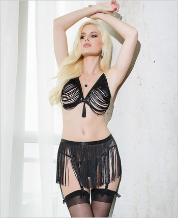 Cascade fringe triangle bra and garter belt set CQ-SB601