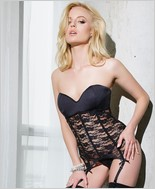Stretch lace bustier with padded cup CQ-SB602