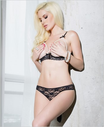 Lace cupless bra and crotchless panty set CQ-SB606