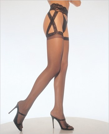 Leg Avenue® Criss Cross Sheer Garter Belt Stockings LA-1653Q