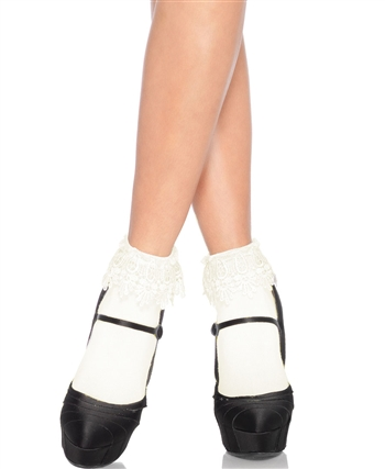 Acrylic Anklet Socks With Venice Lace Top LA-3035