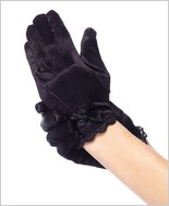 Lace Trim Satin Gloves LA-4908