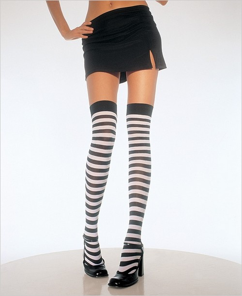 Opaque Stripe Thigh High Stockings Leg Avenue 6005