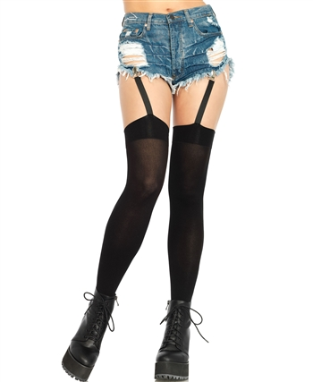Opaque Thigh Highs with Garters LA-6338