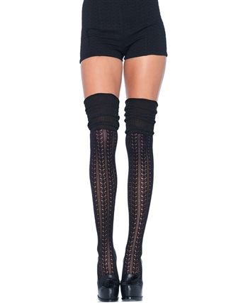 Acrylic Pointelle Over The Knee Scrunch Socks LA-6906