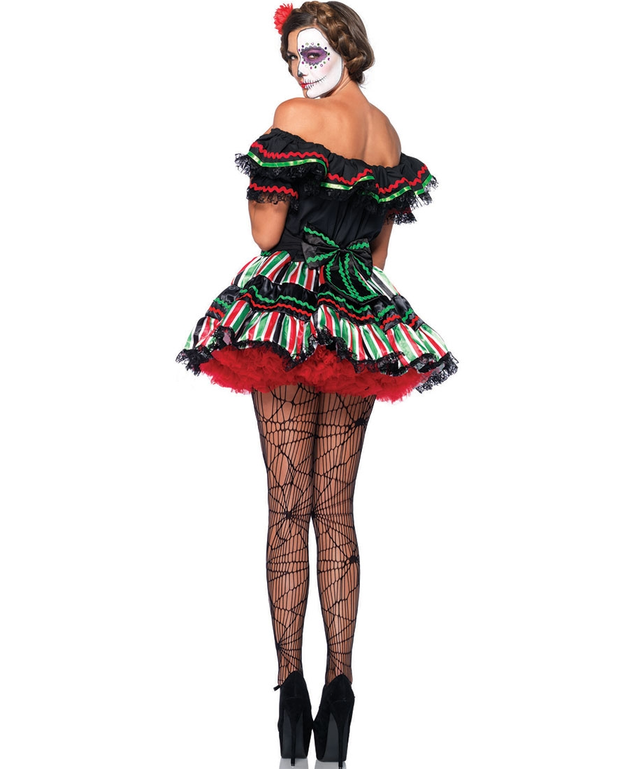 52a9ed49ba6 Plus Size Day Of The Dead Doll Costume LA-85293X
