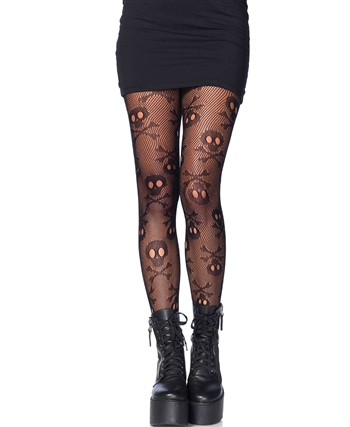 Pirate Booty Crossbones Fishnet Pantyhose LA-9986