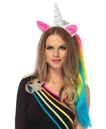 Magical Unicorn Headband with Rainbow Wig Mane LA-A2781