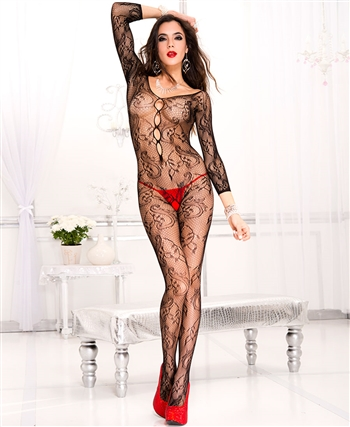 Long Sleeve Paisley Bodystocking ML-1012-Black