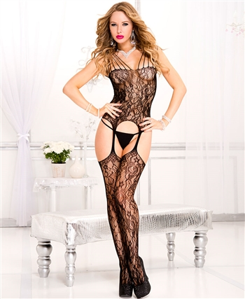 Strappy Shoulder Lace Suspender Bodystocking ML-1013-Black