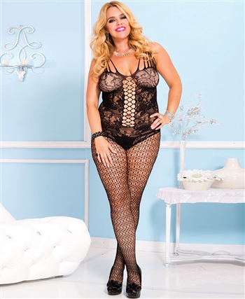 Plus Size Floral Lace with Net Panel Design Bodystocking ML-1015Q-Black