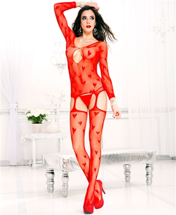 Heart and Fishnet Suspender Bodystocking ML-1017-Red