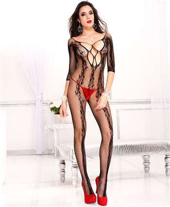 Flower Vines Fishnet Bodystocking with Front Criss Cross ML-1021-Black