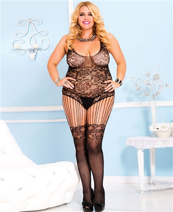 Plus Size Floral Lace Bodice with Strings Bodystocking ML-1022Q-Black