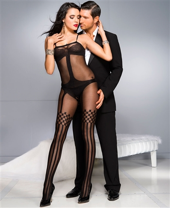 Faux Garter with Thigh High Bodystocking ML-1026-Black