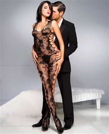 Rose Design Bodystocking with Shredded Straps ML-1027-Black