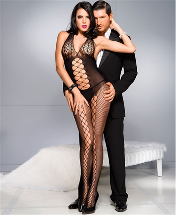 Honeycomb Bust Bodystocking with Front Panel ML-1030