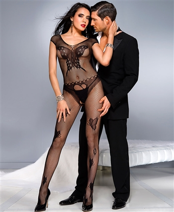 Fishnet Center Butterfly Design Bodystocking ML-1035