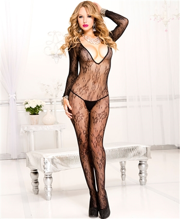 Music Legs® V-Neck Lace Bodystocking ML-1085