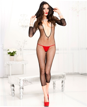 Footless Hooded Fishnet Crotchless Bodystocking ML-1088