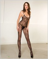 Music Legs® Seamless Floral Lace Crotchless Bodystocking ML-1114