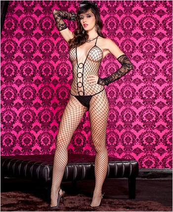 Diamond Net O-Rings Bodystocking ML-1120
