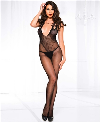 Fishnet Design Open Front Bodystocking ML-1133