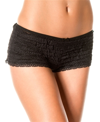 Black Ruffle Tanga Short ML-119-Black