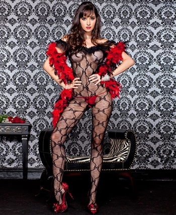 Music Legs® Bow Lace Bodystocking ML-1261