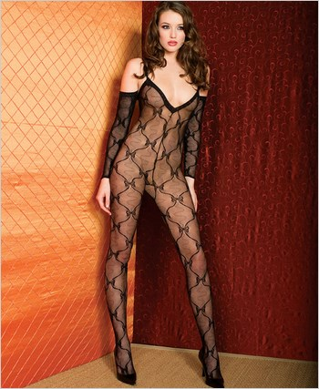 Music Legs® Bow Lace Bodystocking ML-1271
