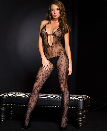 Lace Halter Neck Bodystocking ML-1288